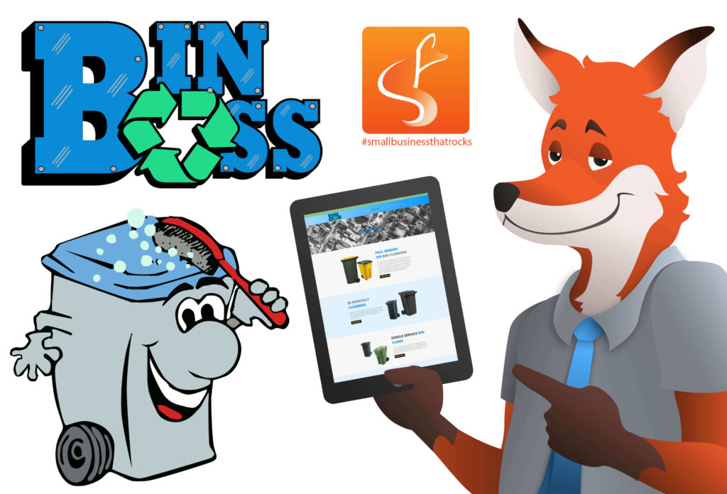slyfox mascot holding tablet displaying bin boss website