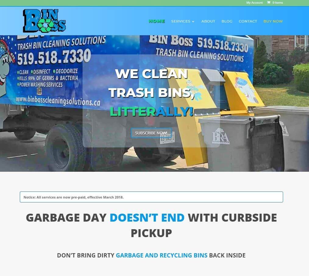 Bin Boss Website Screen Shot