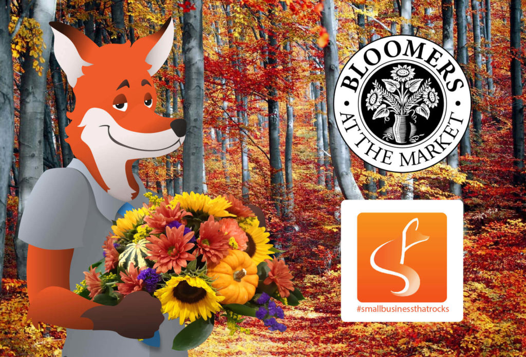 Bloomers At The Market Logo With Fox in Autumn forest holding Bouquet - SlyFox Web Design and Marketing