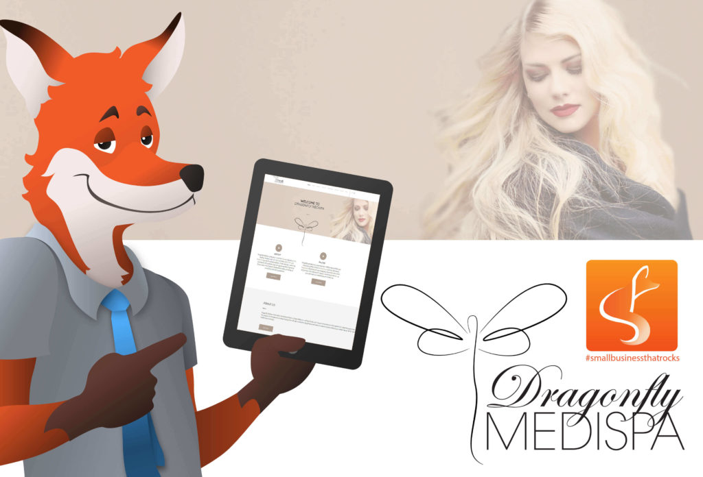 slyfox mascot holding tablet displaying dragonfly medispa webpage