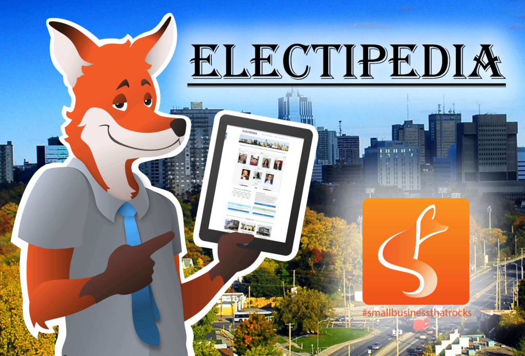 Fox holding tablet with eEectipedia website - SlyFox Web Design and Marketing