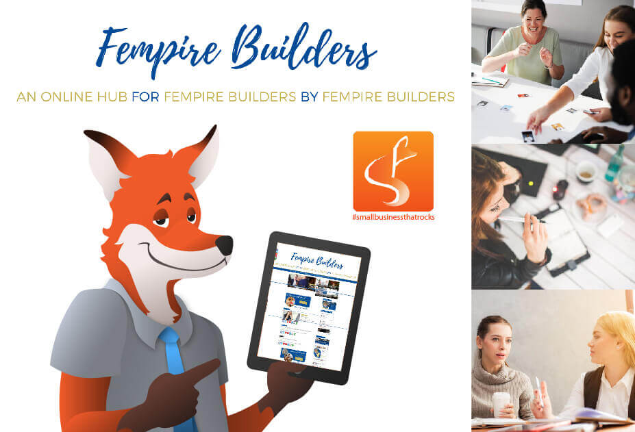 slyfox mascot holding tablet displaying fempire website