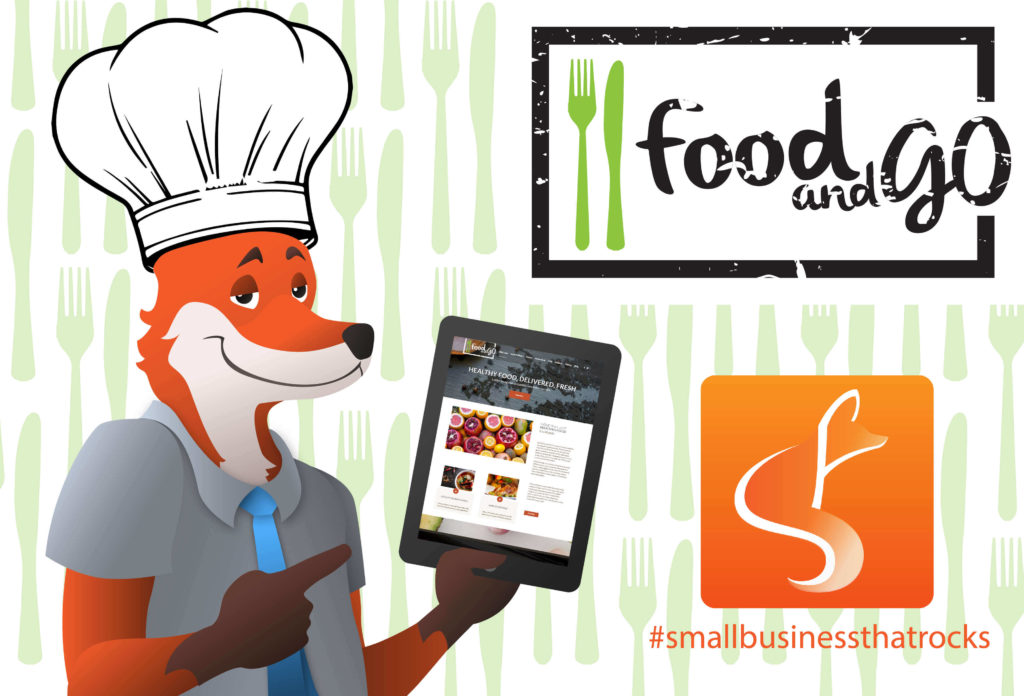 slyfox mascot holding tablet with food and go website