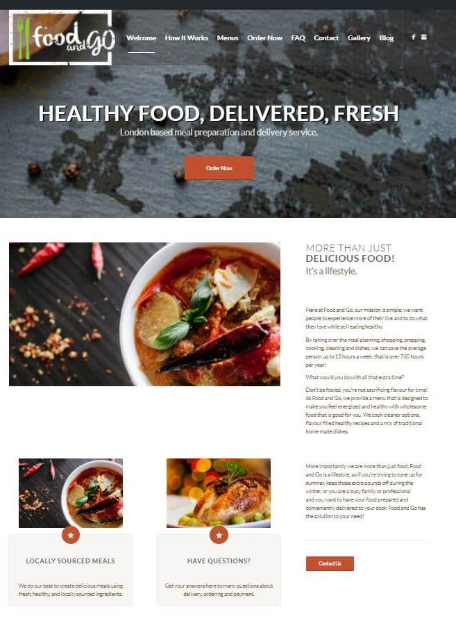 screenshot of Food and Go site