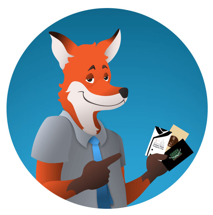 slyfox mascot holding several custom business cards - SlyFox Web Design and Marketing
