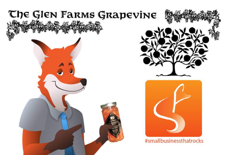 slyfox mascot holding jar of glen farms preserves