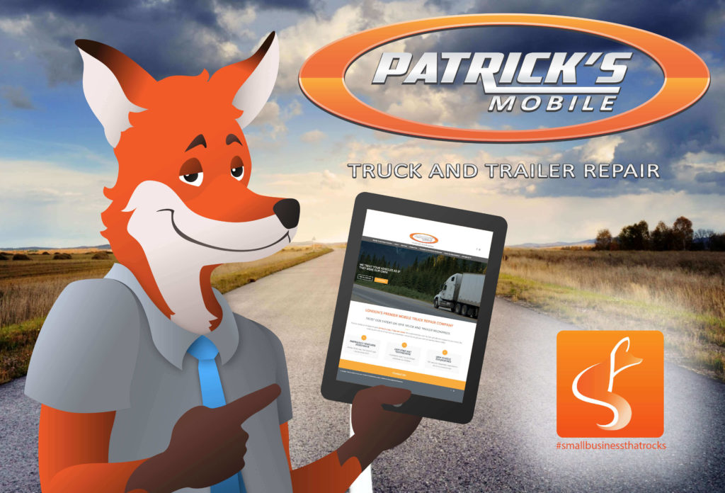 slyfox mascot holding tablet displaying patrick's website