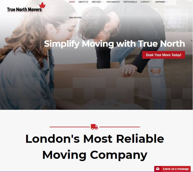 True North Movers Website
