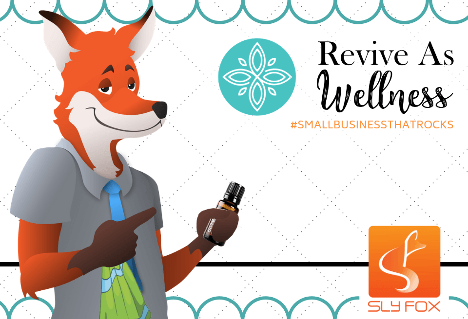 slyfox mascot holding essential oils bottle