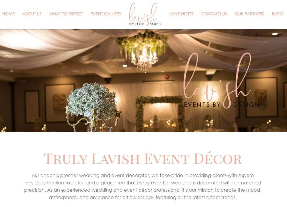 Lavish Events by Design homepage