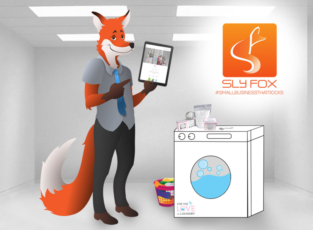 slyfox mascot holding tablet with ftlol website - SlyFox Web Design and Marketing