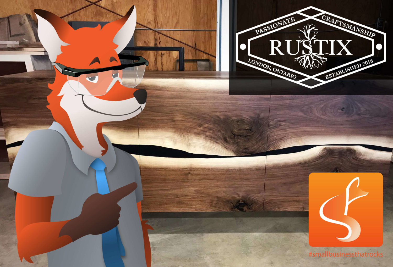 slyfox fox wearing safety goggle pointing at rustix logo - SlyFox Web Design and Marketing