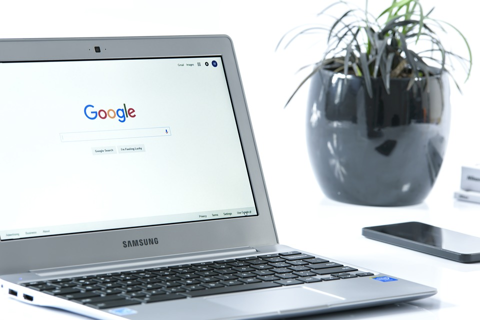 samsung laptop with google home page loaded - SlyFox Web Design and Marketing