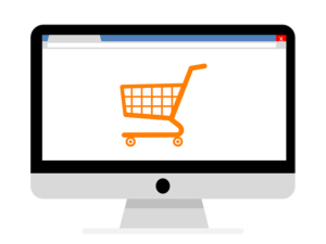 Image of yellow shopping cart on white screen